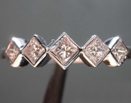 Colorless Diamond Ring: .42ctw J VS1 Princess Cut Five Stone Diamond Band R7584