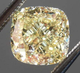 Loose Yellow Diamond: 1.51ct Fancy Light Yellow VVS2 Cushion Cut Diamond GIA R7668