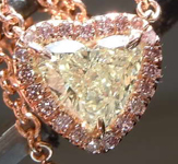 Diamond Necklace: .39ct Y-Z SI1 Heart Shape Diamond Halo Necklace R6965