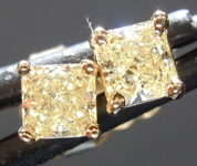 SOLD.......Yellow Diamond Earrings: .52ctw Fancy Light Yellow Radiant Cut Diamond Stud Earrings R7656