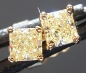 Yellow Diamond Earrings: .52ctw Fancy Light Yellow Radiant Cut Diamond Stud Earrings R7656