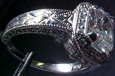 Semi Mount Platinum, hand-engraved for diamonds any shape