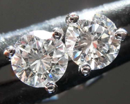 SOLD.......Loose Colorless Diamond Earrings: .49ctw G VS Round Brilliant Diamond Stud Earrings R7687