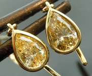 SOLD... .69ctw Natural Yellow VS1 Pear Shape Diamond Earrings R7693