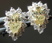 SOLD...93cts Natural Greenish Yellow Pear Shape Diamond Earrings R7696