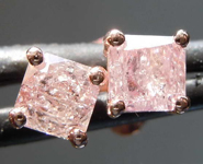 Pink Diamond Earrings: .77ctw Fancy Light Pink I2 Radiant Cut Diamond Earrings R7733