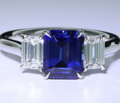 SOLD....1.95ct Blue Emerald Cut Sapphire Ring R7835