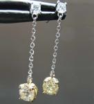 Diamond Earrings: .64cts Fancy Light Brownish Yellow VS1 Round Brilliant Diamond Dangle Earrings R7822