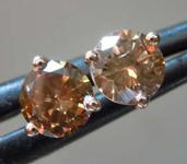 Brown Diamond Earrings: .70ctw Fancy Deep Brown SI Round Brilliant Diamond Earrings R7820