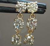 Yellow Diamond Earrings: 1.16ctw Fancy Light Brownish Yellow VSI Round Brilliant Diamond Dangle Earrings