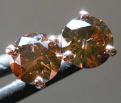 1.00ctw Deep Orangy Brown I1 Round Brilliant Diamond Earrings R7829