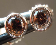 .43ctw Deep Orangy Brown Oval Diamond Earrings R7883