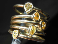 .61ctw Orangy Yellow Pear Diamond Ring Set R7581