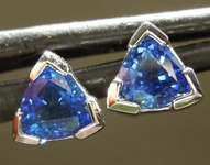 SOLD...0.86ctw Blue Trilliant Sapphire Earrings R7934