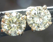 SOLD....1.10ctw Greenish Yellow Diamond Earrings R7962