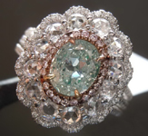 1.07ct Light Green I1 Oval Diamond Ring R7991