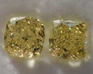 SOLD...2.08ctw Yellow VS Cushion Diamond Earrings R8001