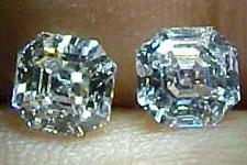 SOLD....Earrings- 1.44ctw Asscher Cut Pair R1281