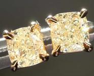 1.07ctw Light Yellow Cushion Cut Diamond Earrings R8041
