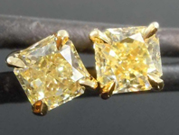 SOLD.....71ctw Light Yellow Radiant Cut Diamond Earrings R8051