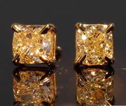 1.03ctw Light Yellow Cushion Cut Diamond Earrings R8057
