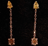 .65ctw Yellow and Brown Diamond Earrings R8062