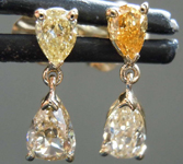 0.74ctw Yellow Pear Diamond Earrings R8095