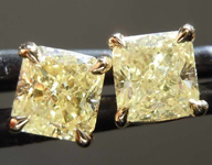 SOLD....1.38ctw Yellow Radiant Cut Diamond Earrings R8110
