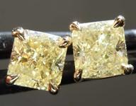 1.38ctw Yellow Radiant Cut Diamond Earrings R8110