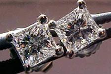 SOLD....Earrings- 3/8 carat total weight Princess Diamonds