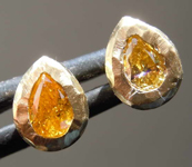 .37ctw Intense Orange Yellow SI1 Pear Diamond Earrings R8198