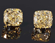 SOLD....2.04ctw Light Yellow VVS Cushion Cut Diamond Earrings R8248