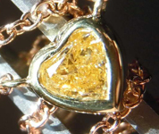 0.36ct Intense Orange Yellow I1 Heart Shape Diamond Pendant R8180