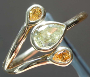 0.44ctw Yellow and Orange Pear Diamond Ring R8212