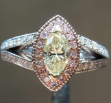0.47ct Light Yellow I1 Marquise Diamond Ring R8206