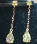 1.18ctw Yellow Pear and Round Brilliant Diamond Earrings R7972