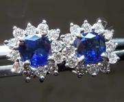 1.12cts Blue Cushion Cut Sapphire Earrings R8265
