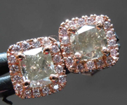 1.24cts Greenish Gray Cushion Cut Diamond Earrings R8221