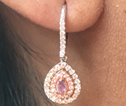 SOLD...0.40cts Intense Purple Pear Shape Diamond Earrings R8336