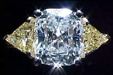 SOLD...Three Diamond Ring: GIA 2.16ct Cushion Diamond w/ Fancy Yellow Trills R1378
