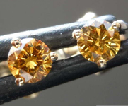 0.33ctw Orangy Brown Yellow Round Brilliant Diamond Earrings R7761