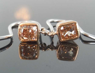 SOLD....0.82ctw Orangy Brown Cushion Cut Diamond Earrings R7885