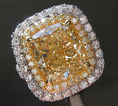 5.24ct Fancy Light Yellow VS1 Cushion Cut Diamond Ring R8476
