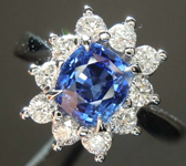SOLD...1.32ct Blue Cushion Cut Sapphire Ring R8502