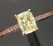 0.52ct Yellow VS2 Cushion Cut Diamond Ring R8467