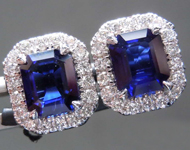 SOLD....2.16cts Blue Emerald Cut Sapphire Earrings R8542