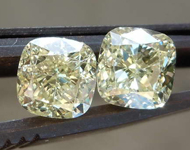 SOLD....2.02 ctw Yellow VS1 Cushion Diamond Earrings R8560