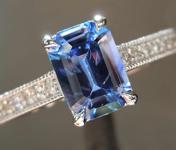 0.93ct Blue Emerald Cut Sapphire Ring R7768