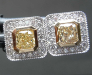SOLD....0.91cts Yellow Cushion Cut Diamond Earrings R8497