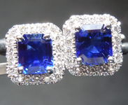 SOLD....1.75cts Blue Emerald Cut Sapphire Earrings R8773